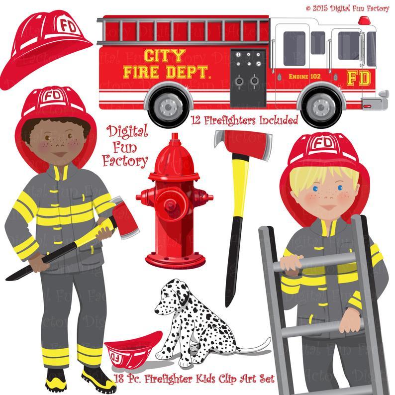 Fireman clip art firefighters. Firefighter clipart accessories