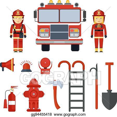 Vector art set of. Fireman clipart accessories