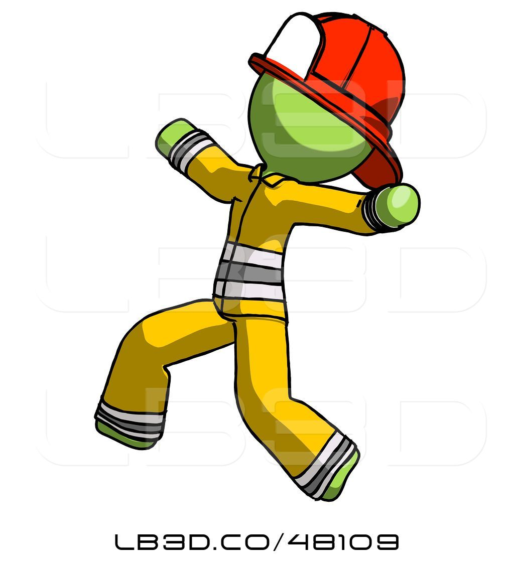 Firefighter clipart attached. Illustration of green fireman