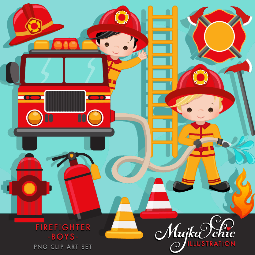 Fireman clipart baby. Fire fighter boys mygrafico