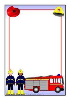 Fire truck background paper. Firetruck clipart border