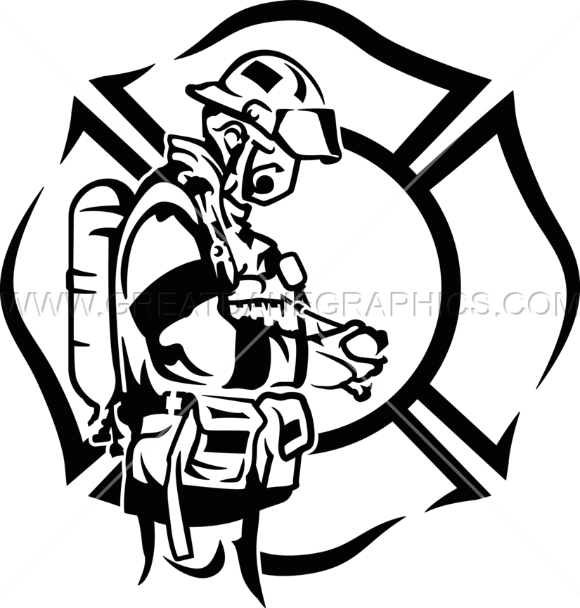 Firefighter clipart black and white. Profile production ready artwork