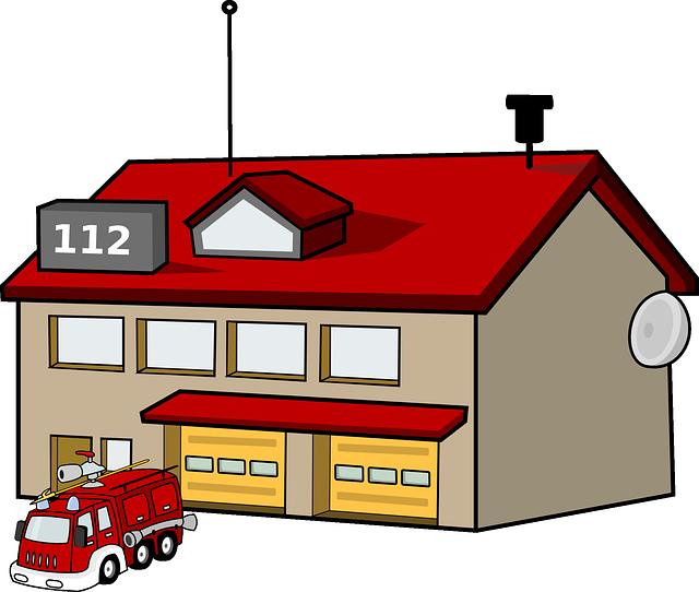 Imagen gratis en pixabay. Firefighter clipart building