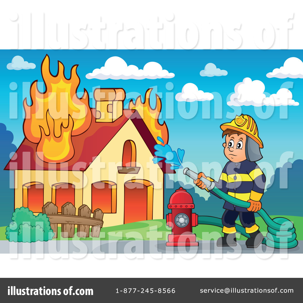 Fireman clipart home fire. Illustration by visekart