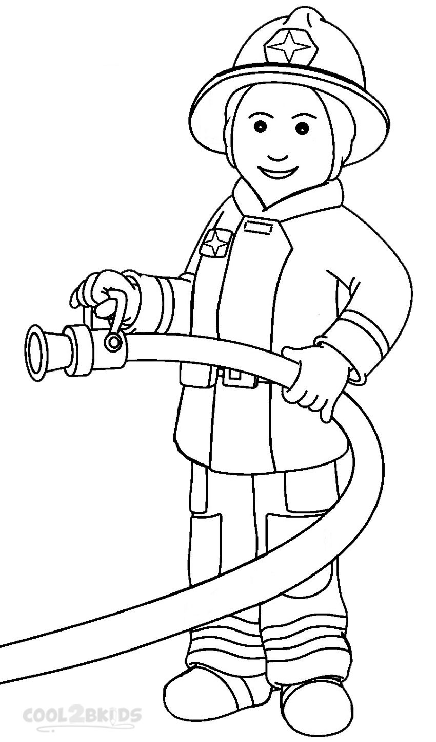 Firefighter black and white. Fireman clipart draw