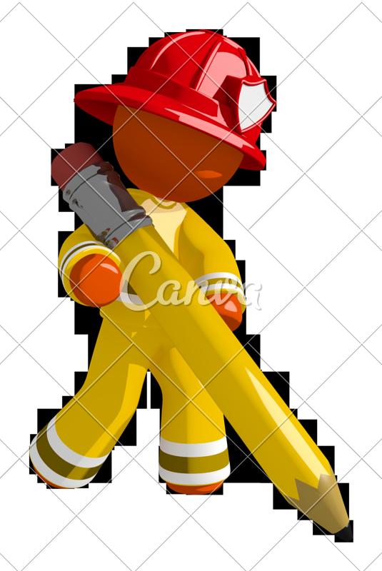 Orange man firefighter drawing. Fireman clipart draw