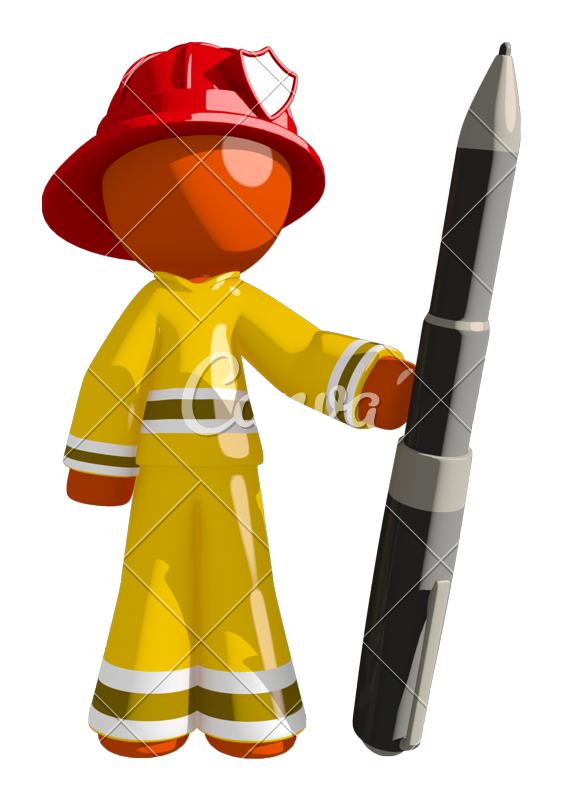 Firefighter clipart different occupation. Orange man holding large