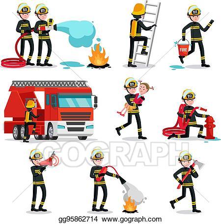 Fireman clipart emergency service. Clip art vector firefighting