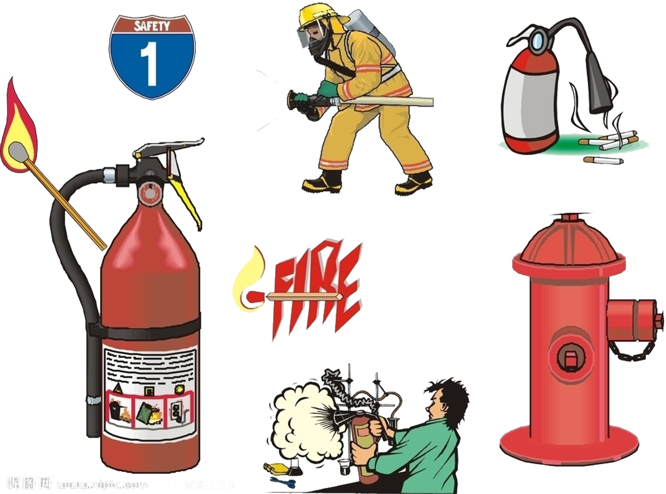 Fireman clipart extinguisher. Firefighter firefighting fire alarm