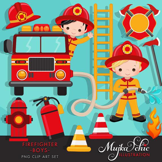 Boys cute fireman truck. Firefighter clipart fire fighter