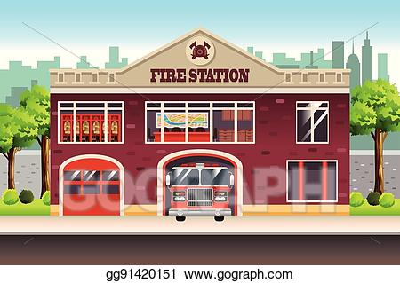 Firefighter clipart fire house. Vector art station drawing