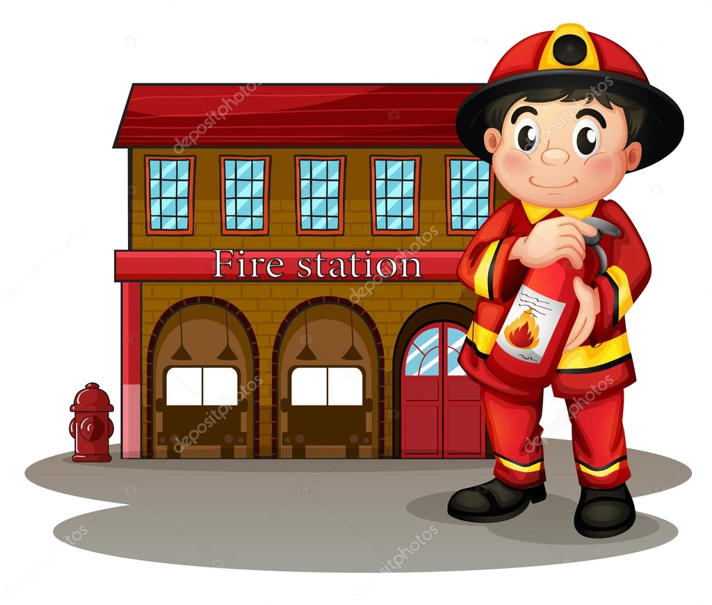 Station burning building a. Firefighter clipart fire house