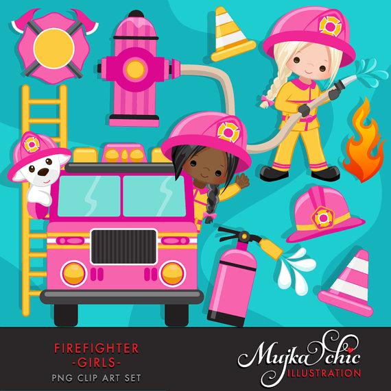 Fighter girls cute fireman. Firefighter clipart fire rescue