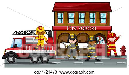 Firefighter clipart fire rescue. Eps illustration station vector
