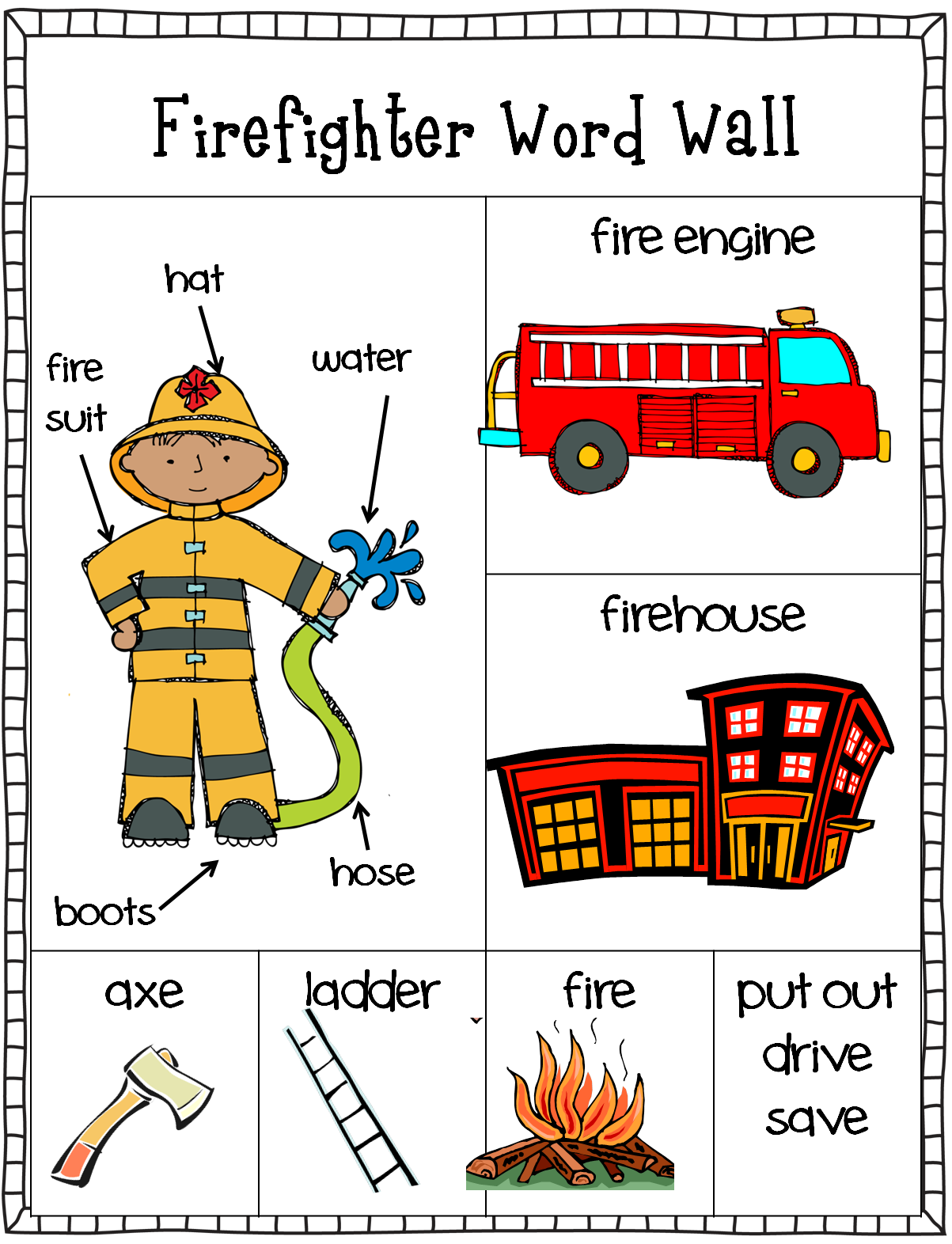 Words clipart word wall. Free firefighter writing center