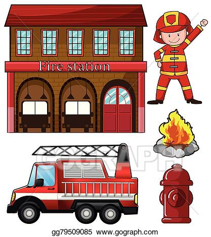Fireman clipart station. Clip art vector and