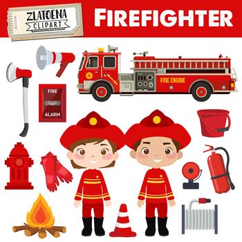 Firefighter clip art graphics. Fireman clipart fire engine