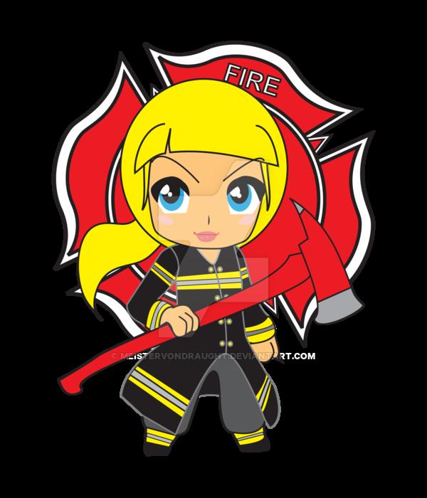 Blonde girl firefighter chibi. Fireman clipart vector