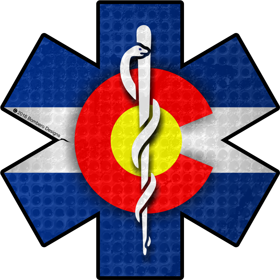 Colorado star of life. Firefighter clipart flag