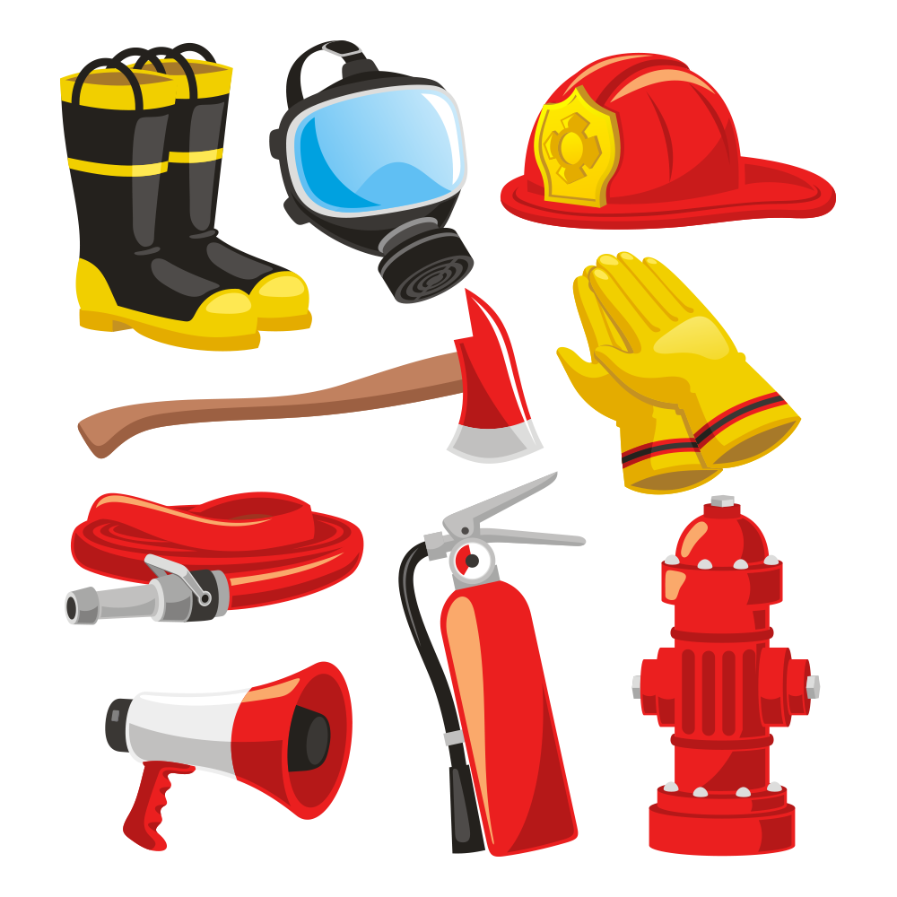 Firefighters helmet bunker gear. Firefighter clipart glove