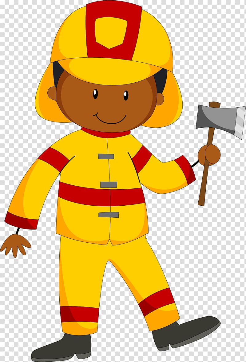 Fireman clipart male firefighter. With a fire axe