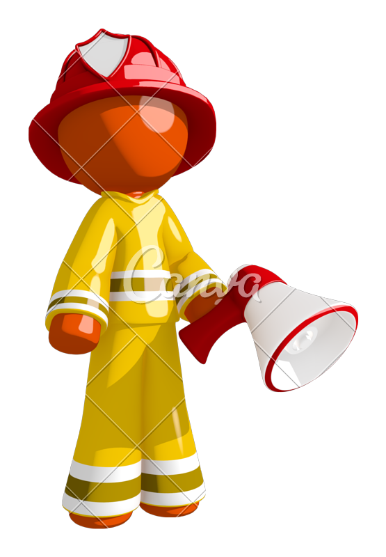 Orange man posing with. Firefighter clipart ocupation