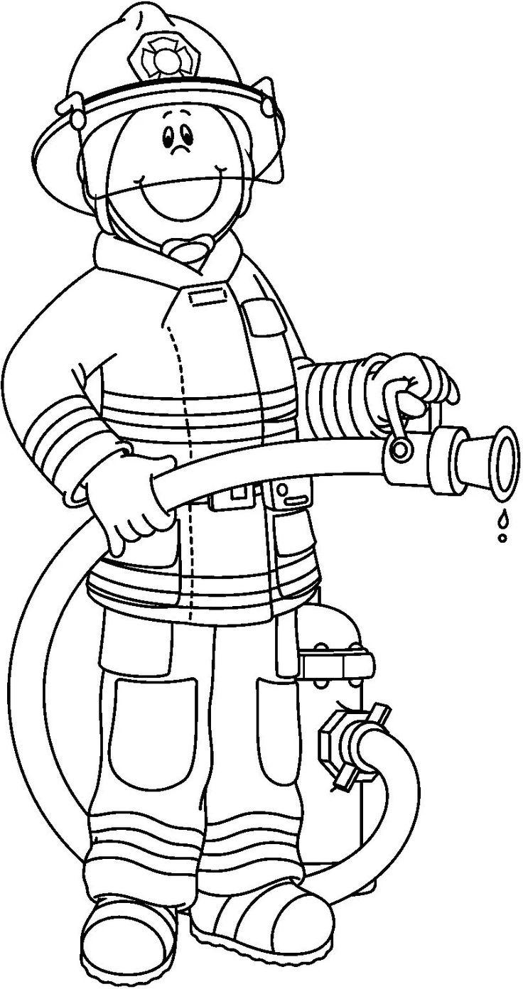 Fireman clipart outline. Firefighter black and white