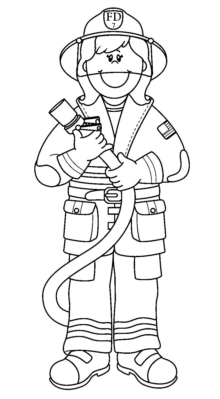 Printable coloring pages firefighter. Fireman clipart colouring page