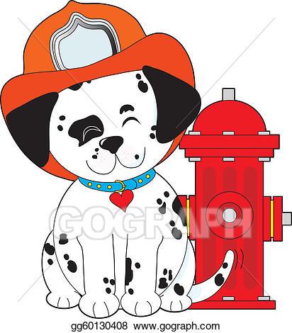 Firefighter clipart puppy. Vector art dalmation fire