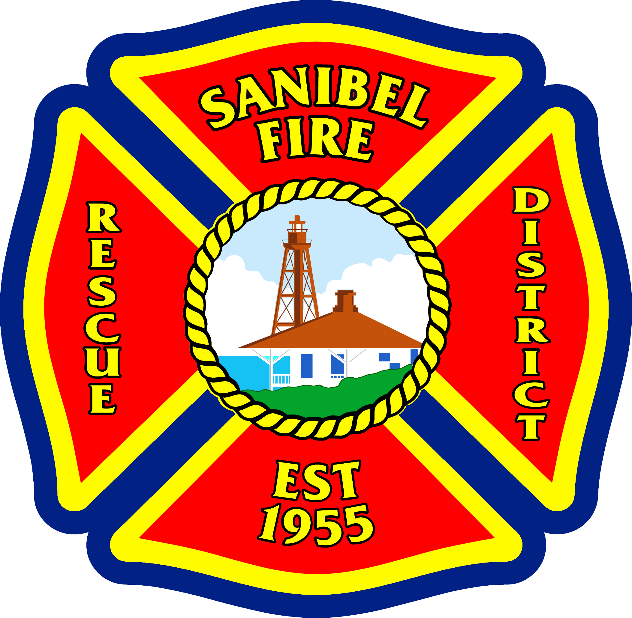 Fireman clipart badge. Sanibel fire rescue heraldy