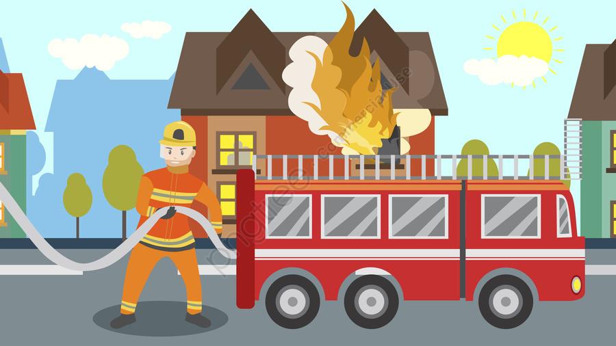 Firefighting day propaganda illustration. Firefighter clipart scene