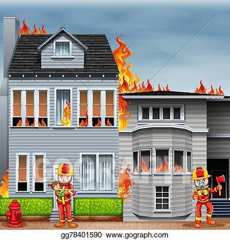 Firefighter clipart scene. Vector fire and firefighters