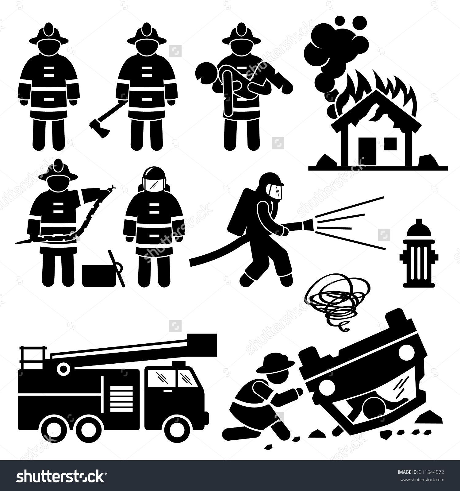 Fireman stick figure pictogram. Firefighter clipart search and rescue