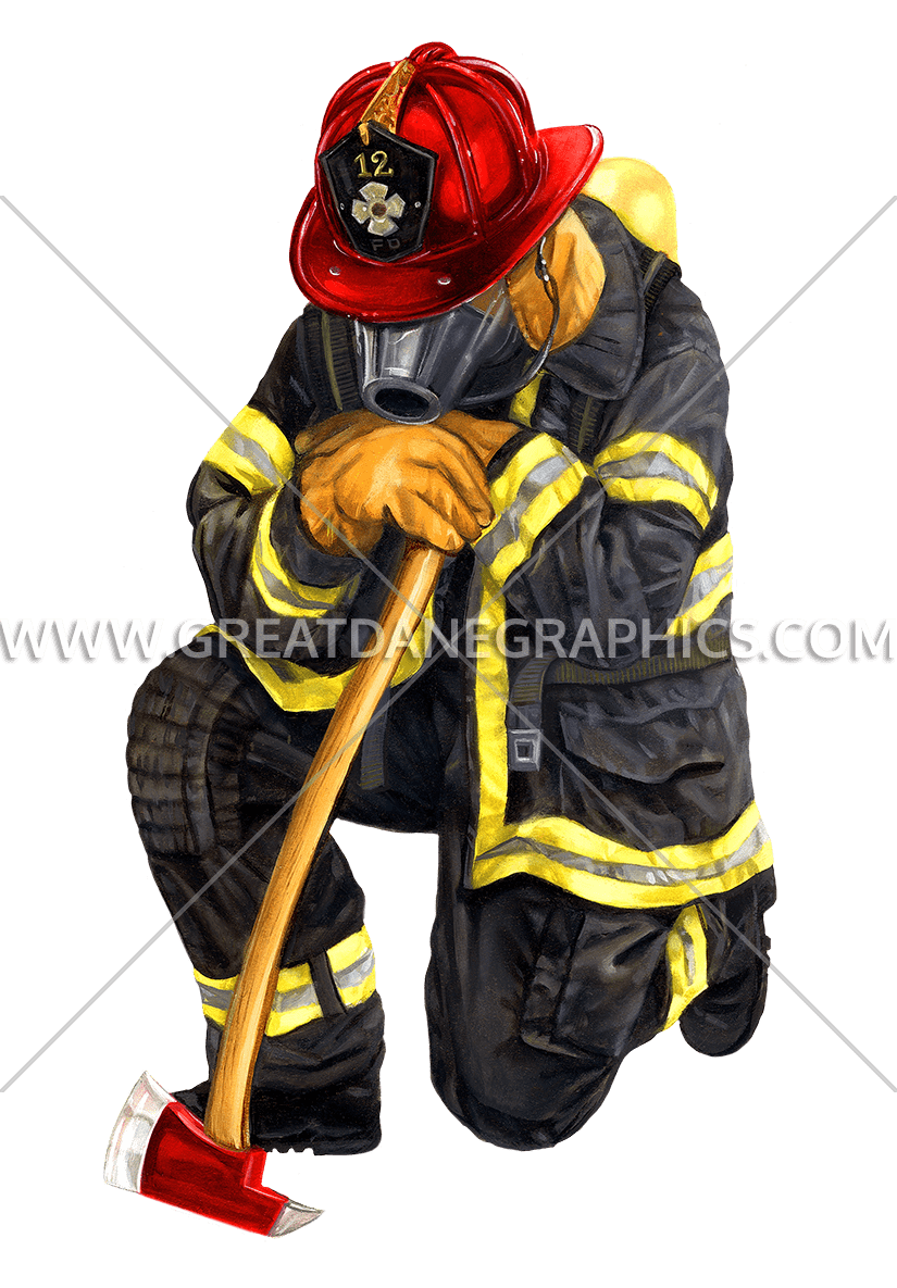 Kneeling production ready artwork. Firefighter clipart shield