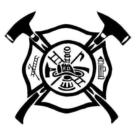 Vinyl decal sticker . Firefighter clipart shield