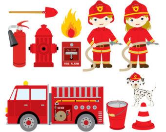 Fireman clipart items. Fire firefighter tool pencil