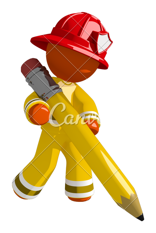Firefighter clipart uniform. Orange man drawing with