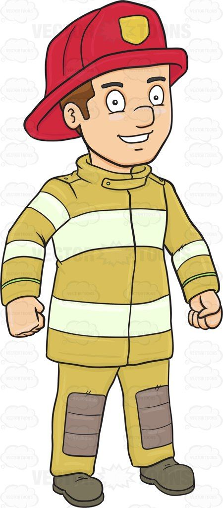 Firefighter clipart uniform. A happy and confident