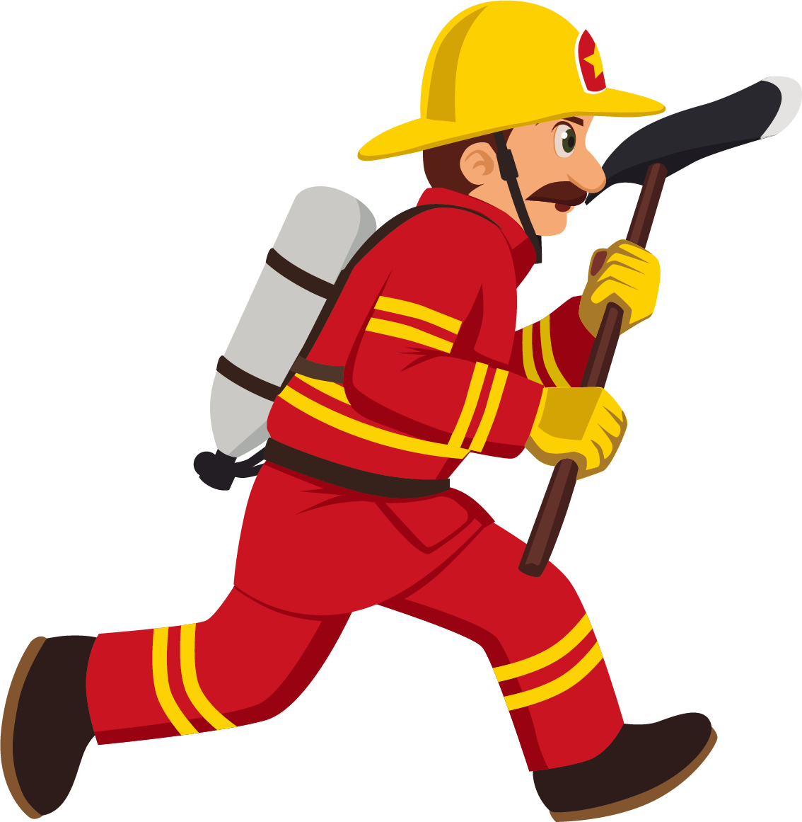 Fireman clipart worker indian. Firefighter cartoon royalty free