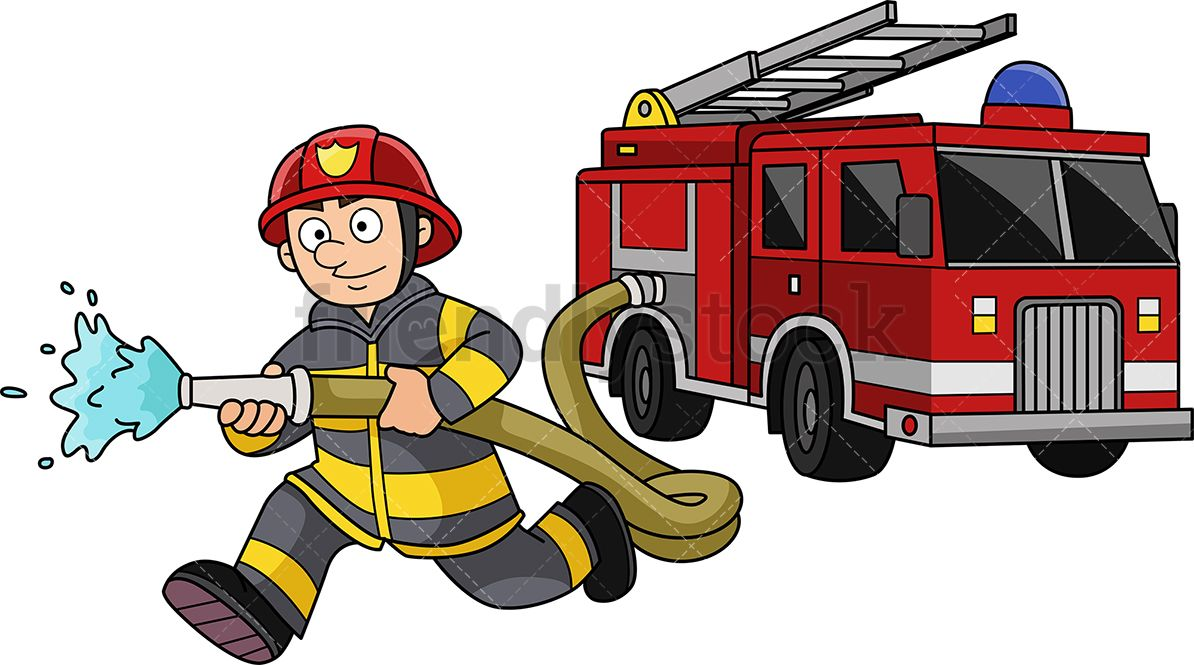 Firefighter running to extinguish. Fireman clipart attached