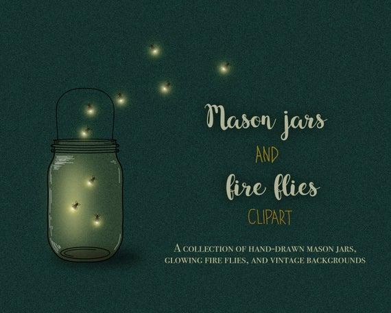 Mason jar lights fireflies. Firefly clipart hand drawn