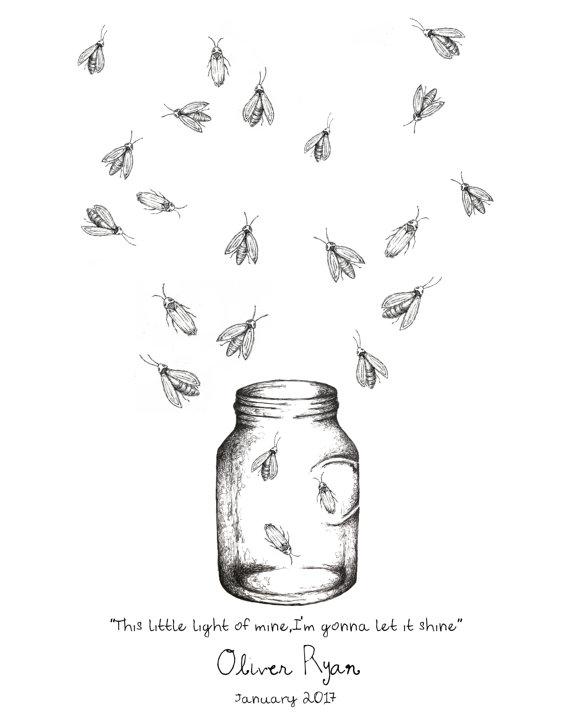 Mason with fireflies fingerprint. Firefly clipart jar drawing