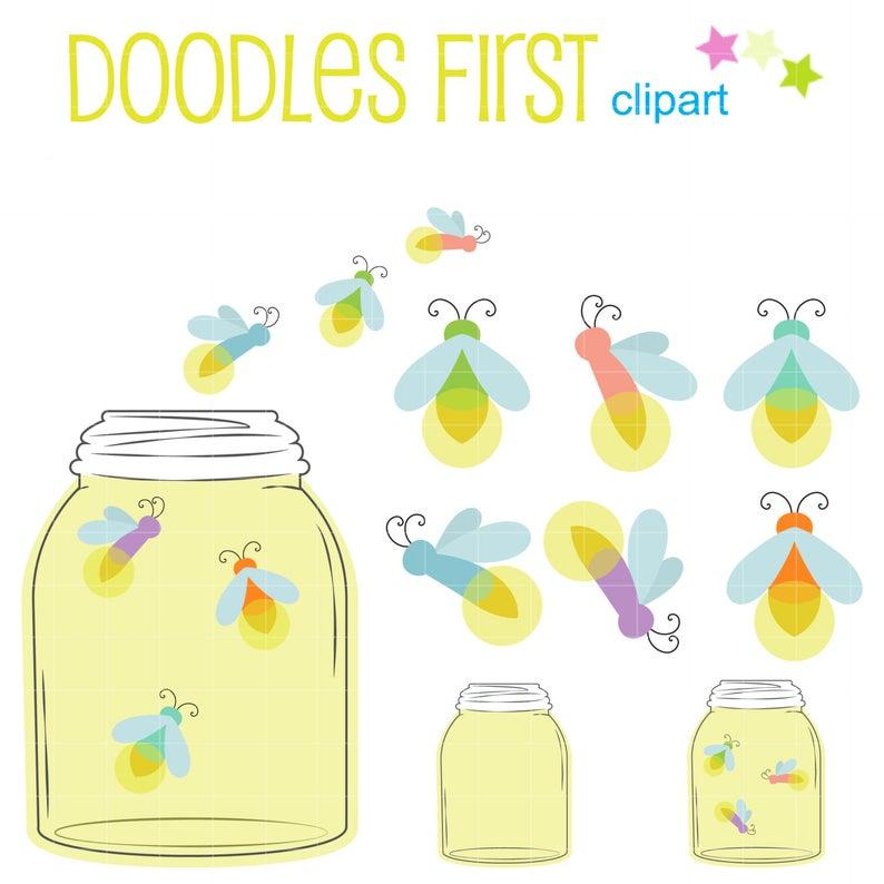 Fireflies in a digital. Firefly clipart jar illustration