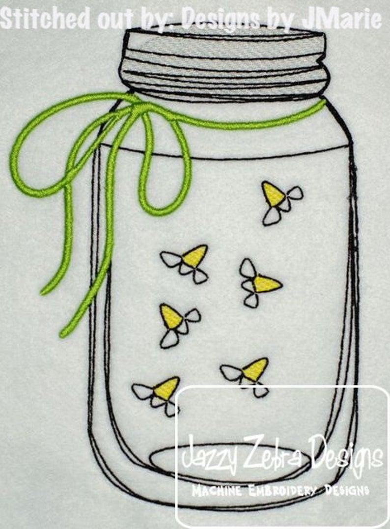 S mason machine embroidery. Firefly clipart jar sketch