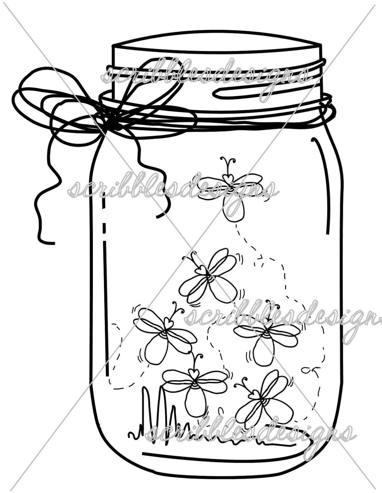 Firefly clipart jar sketch.  drawing mason for