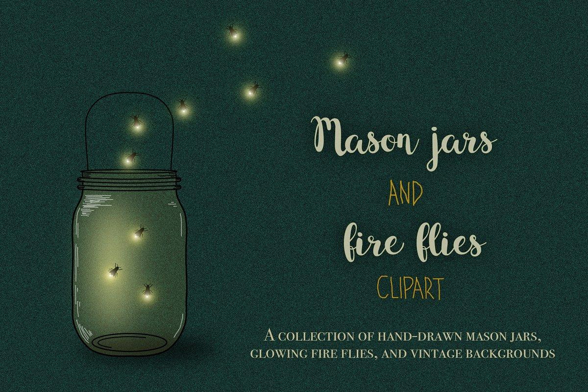 Firefly clipart mason jar. Jars and fireflies