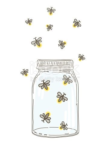 Sketchy hand drawn with. Firefly clipart mason jar