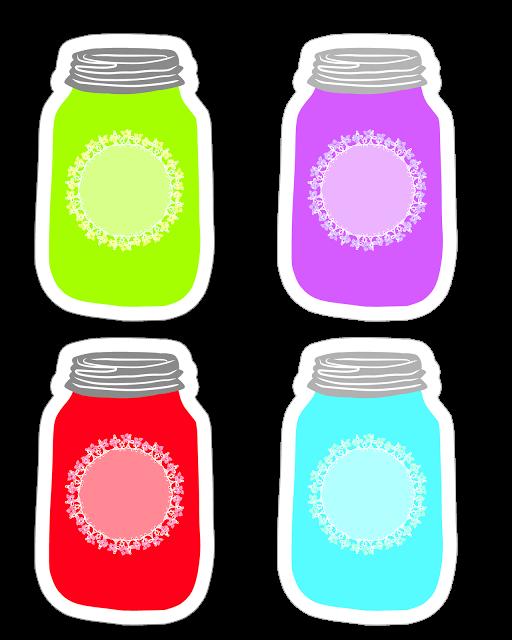 Firefly clipart printable. Colorful mason jar tag