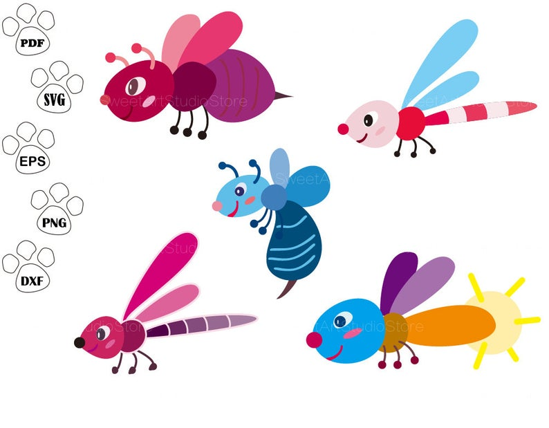 Bug files dragonfly bee. Firefly clipart svg