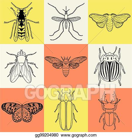 Clip art insect icons. Firefly clipart vector
